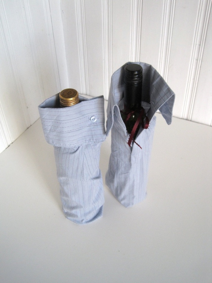 Upcycled blue striped shirt with french cuffs, burgundy ribbon ties and button cufflinks.