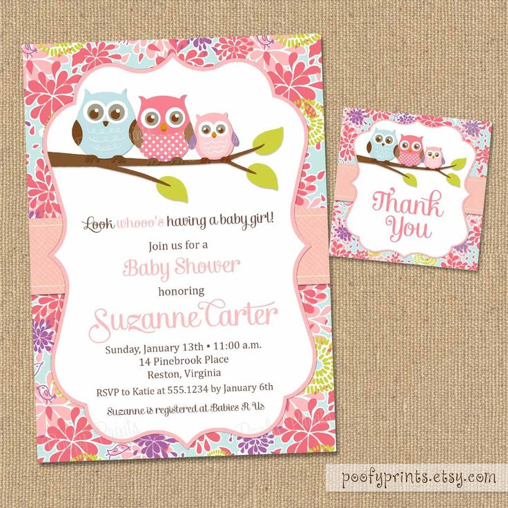 DIY Printable Baby Girl Shower Invitations