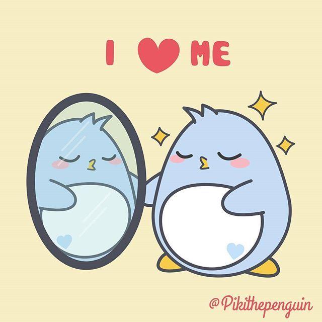 I love me! I am the best!.  #Piki #pikithepenguin #penguins #penguinslover #love #loveme #iloveme #picoftheday #mirror #beautiful #kawaii #cute #cuddly #kakaofriends #rilakkuma #snoopy #molang #pusheen #share