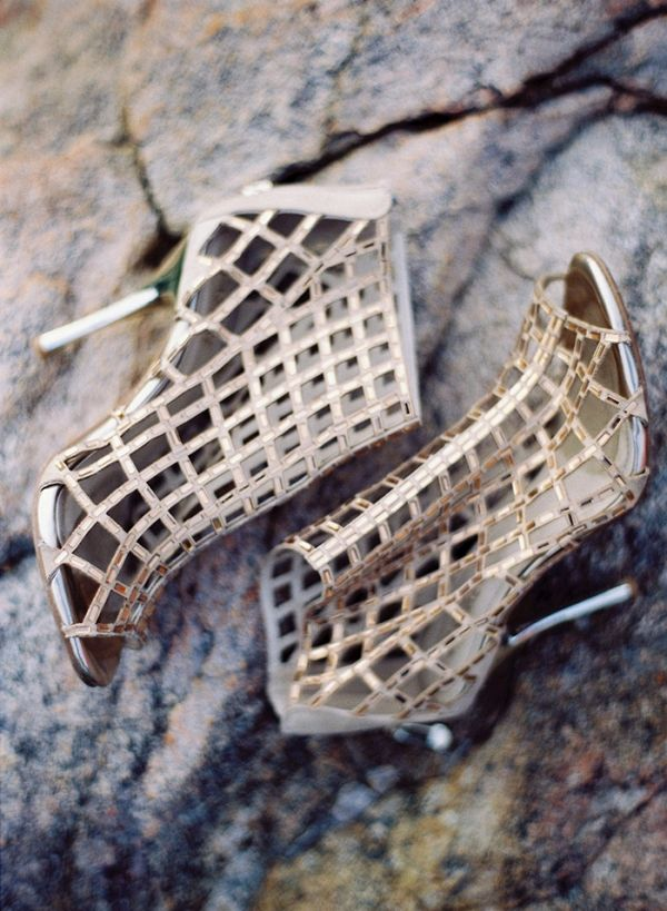 Gold Metallic Cage Booties | Katie Grant Photography