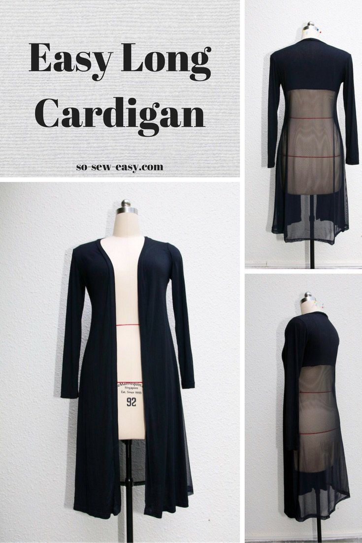 The super easy sew long cardigan will become a staple in your wardrobe. No buttons or belt provide a slimming and very elegant look. Pattern for sizes 8 to 18.