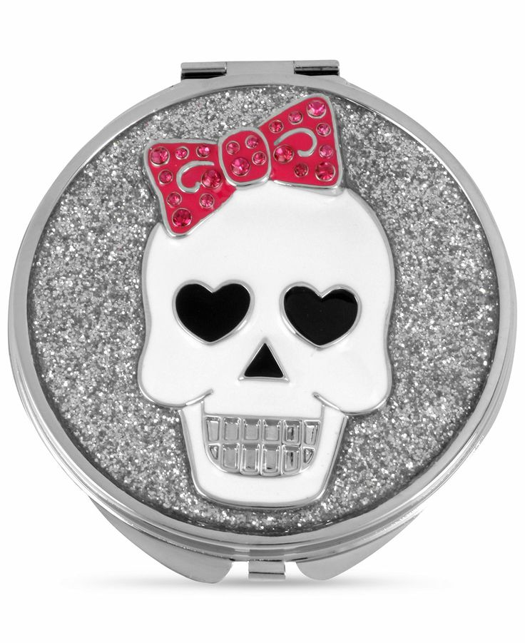 Betsey Johnson Compact, Antique Silver-Tone Glitter Skull Compact - Fashion Jewelry - Jewelry & Watches - Macy's