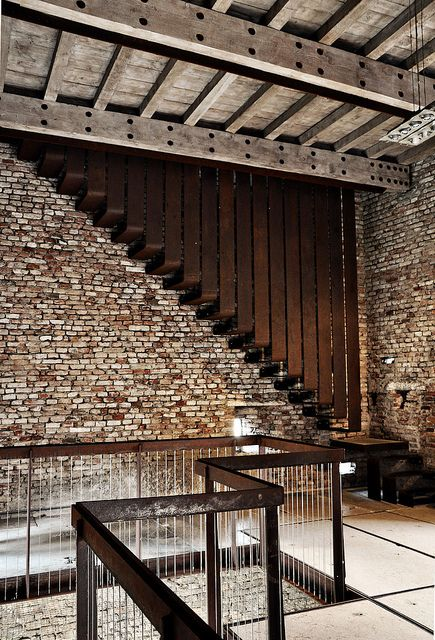 Castelvecchio Museum Stairs by Carlo Scarpa. Love the combination of materials - gorgeous brick.