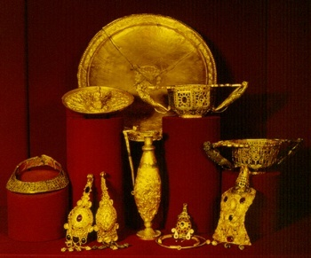 The Pietroasele treasure (found in Pietroasele, Buzău, Romania, in 1837), is a late fourth-century Gothic treasure that included some twenty-two objects of gold, among the most famous examples of the polychrome style of Migration Period art. Of the twenty-two pieces, only twelve have survived, conserved at the National Museum of Romanian History, in Bucharest