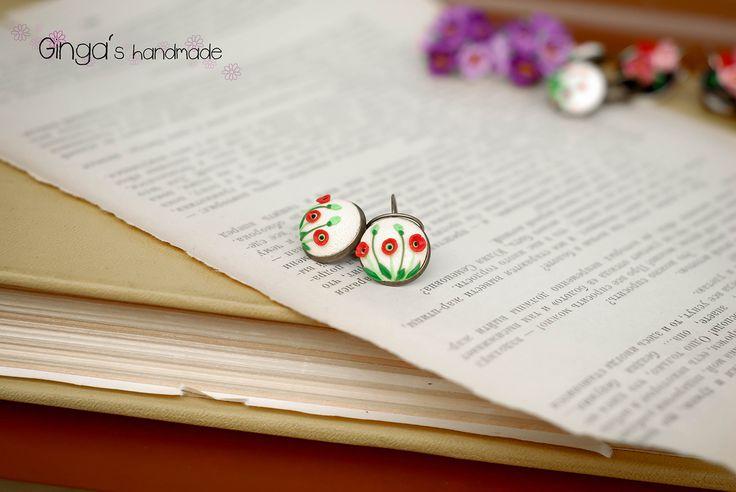 Handmade earrings. Polymer clay aplique, felegree.