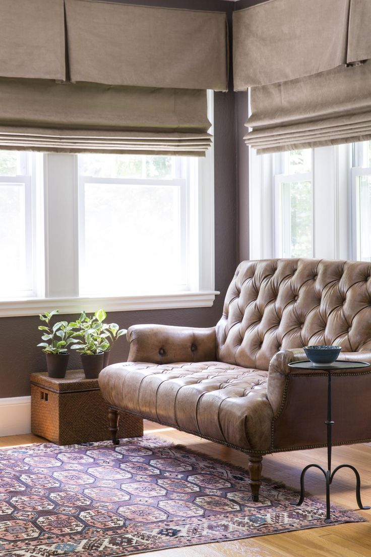 """Farrow and Ball, London Clay. The Studyfeels enveloping with its rich plum brown color walls — """"London Clay"""" by Farrow & Ball. The roman shades are made of Osborne & Little faux suede."""
