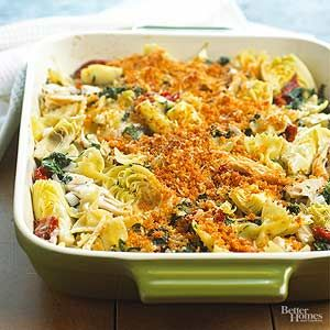 Artichokes, chicken and spinach come together in this delicious casserole recipe. /
