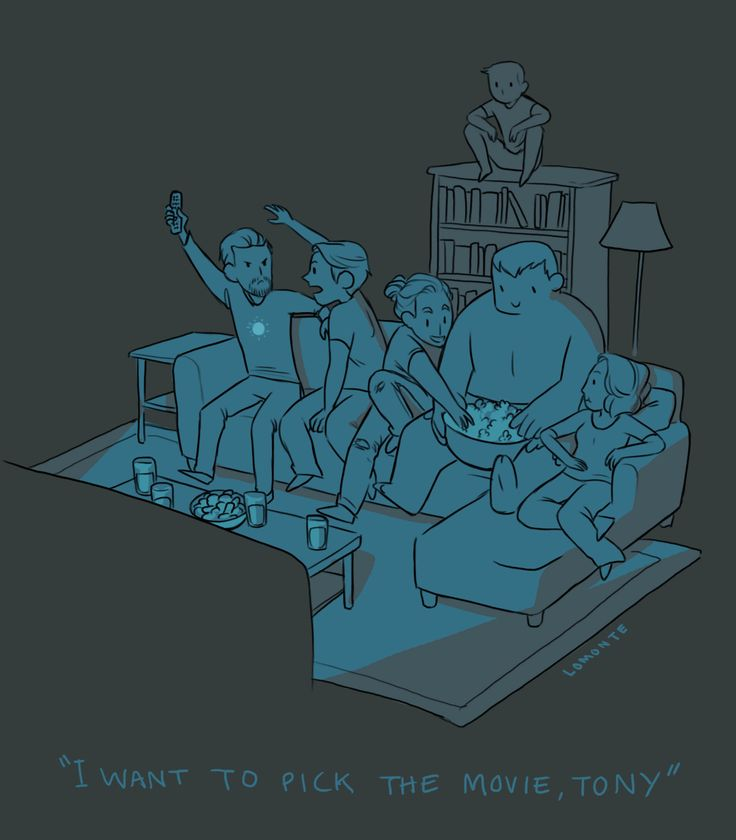 Movie Night w/ the Avengers - love hawkeye up on the bookshelf, and Steve and Tony fighting for the remote
