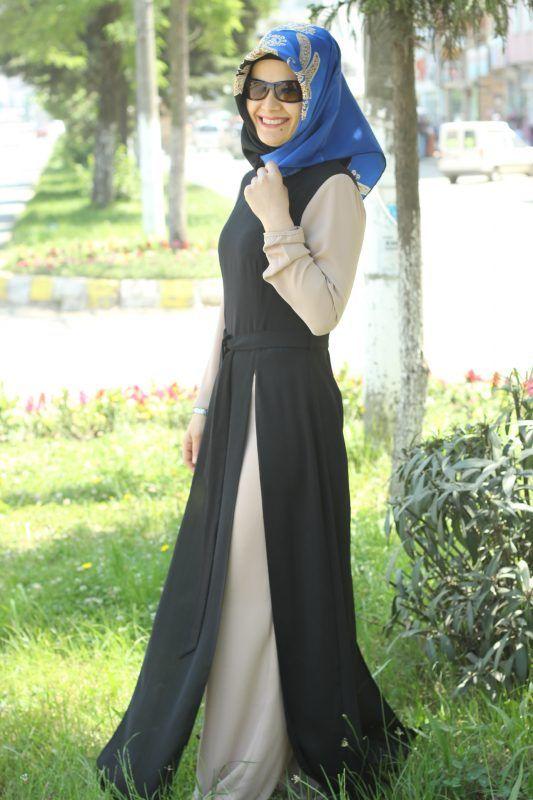 2 yaka Krem Siyah Tulum Elbise