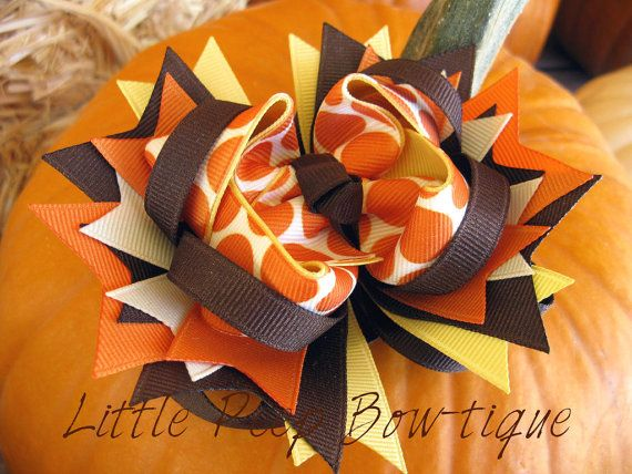 Fall hair bow Thanksgiving layered boutique by LittlePeepBowtique, $9.99