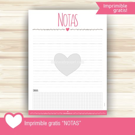 "Imprimible gratis ""Notas"""