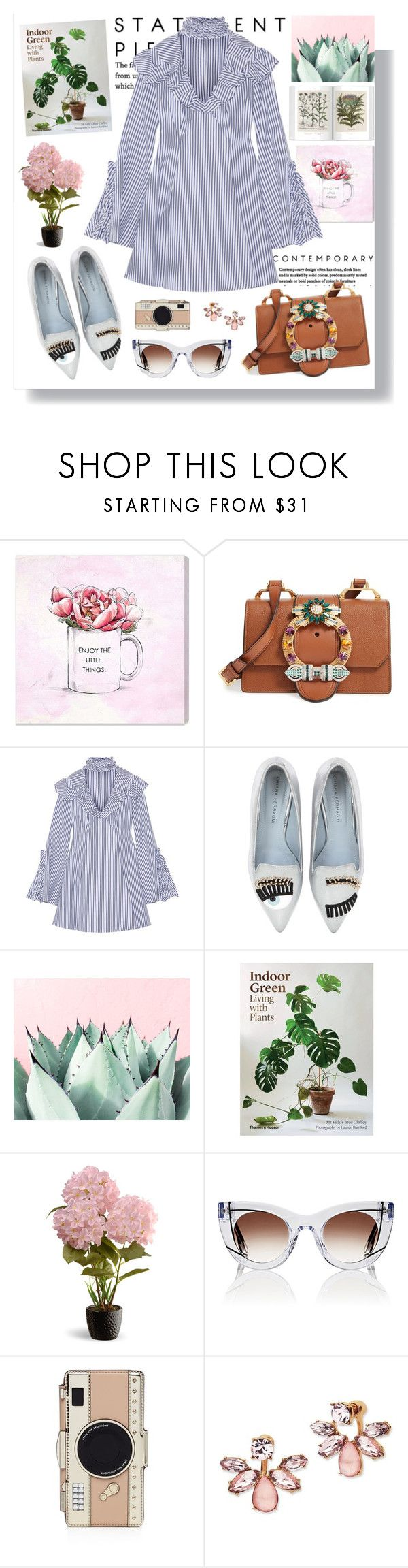 """""""Dainty Spring"""" by fashionfreakforlife on Polyvore featuring Oliver Gal Artist Co., Miu Miu, Caroline Constas, Chiara Ferragni, National Tree Company, Thierry Lasry, Kate Spade and Marchesa"""