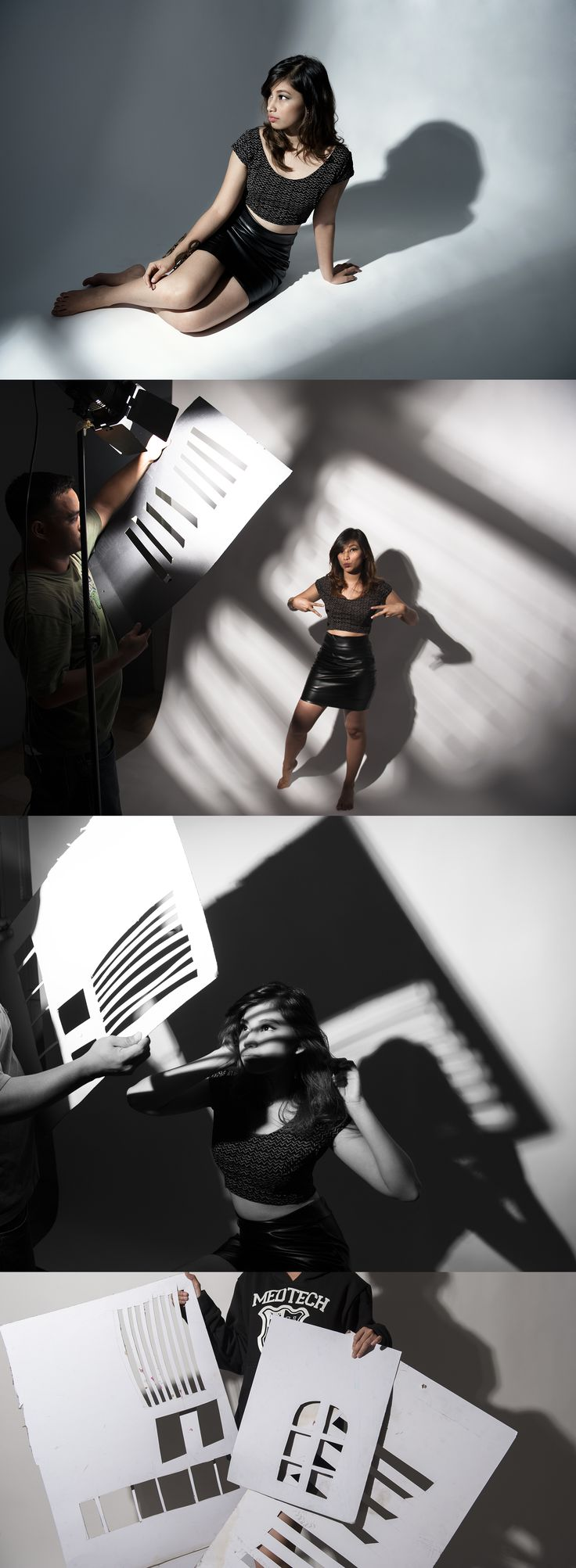 the use of gobos in your images, love the shadows they cast on the model and background.