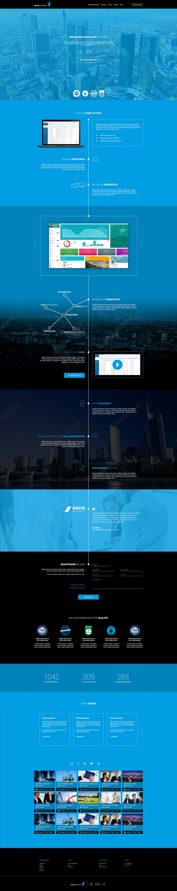 Webdesign for Real Estate Management-Software #webdesign #real estate #properties #property #black #blue #finance #flat