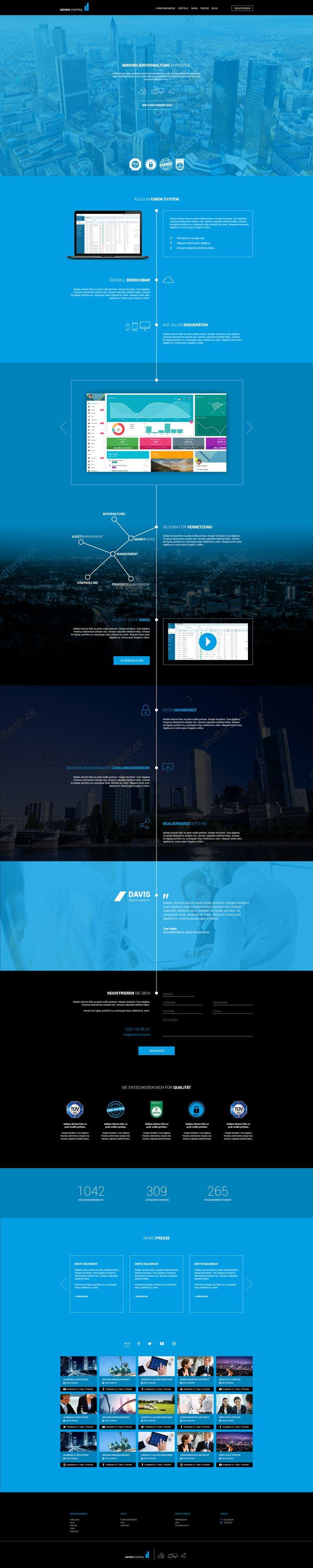 Webdesign for Real Estate Management-Software #webdesign #real estate #properties #property #black #blue #finance #flat