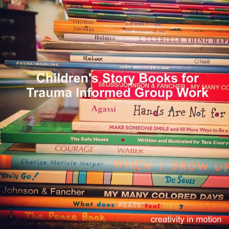 I spent some time going through my collection of children's books that I commonly use in art therapy group work w/ school aged youth (ages 6-12) and pre-school aged children and created this list: