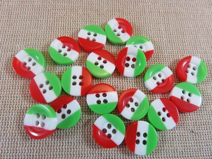 10pcs, Boutons drapeau Italie, boutons vert blanc rouge, boutons italien, lot de 10 boutons, boutons couture, boutons 13mm, boutons layette de la boutique ArtKen6L sur Etsy