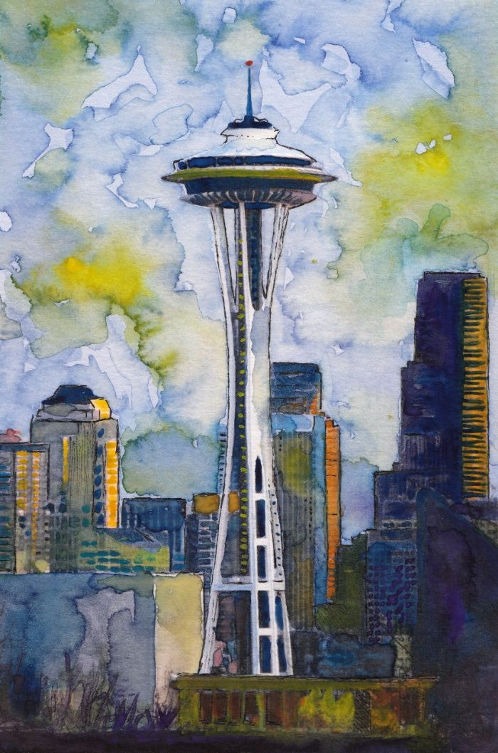 "Seattle Washington Fine Art Watercolor Painting ""Seattle Space Needle"" Art Print"