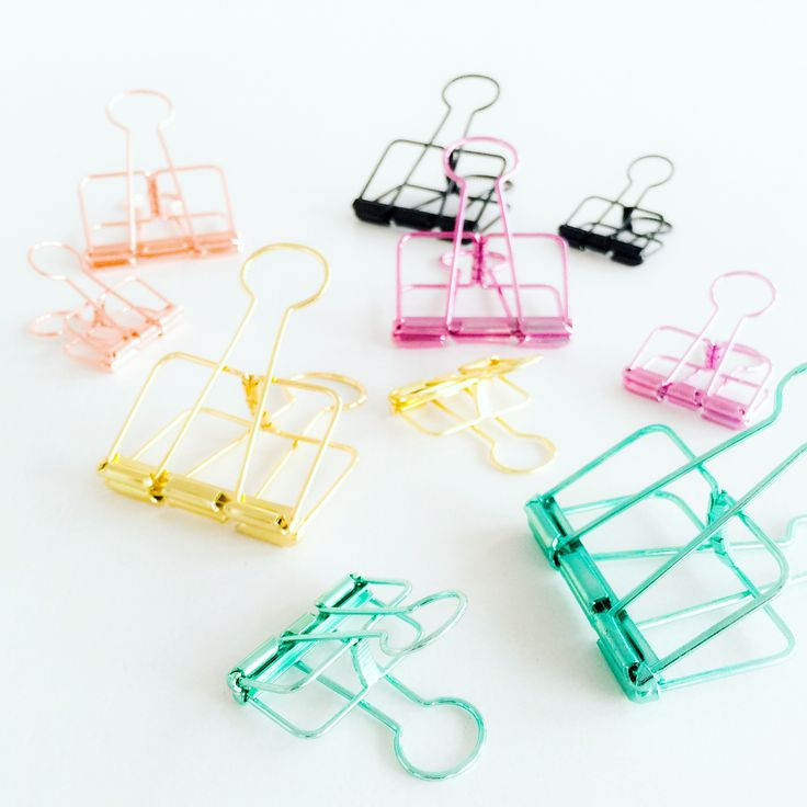 Binder clips / colorful / mint / pink / copper / gold / black / plan fun / Studio Stationery
