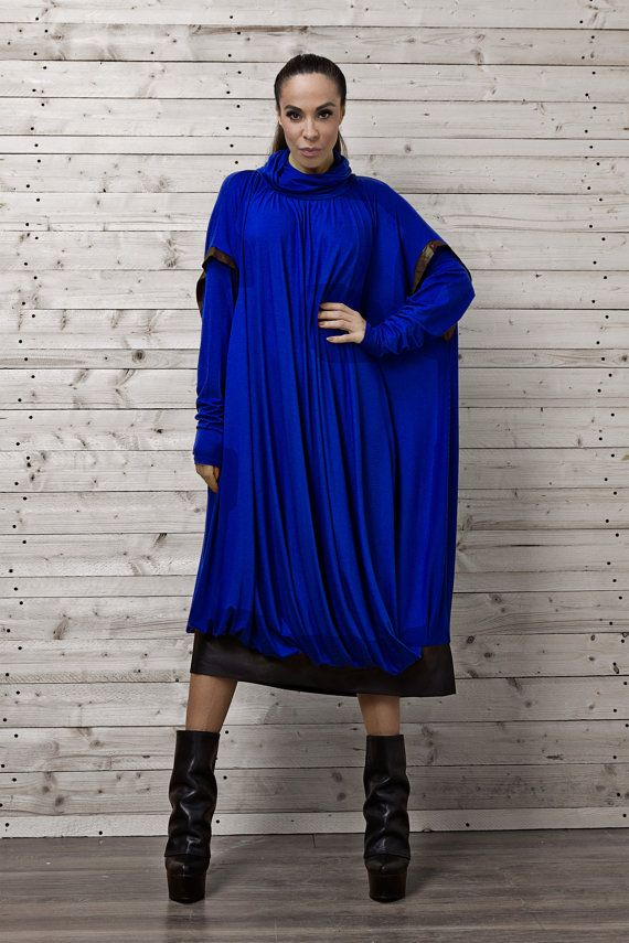 Maxi Dress / Blue Oversize Dress / Plus Size Dark Dress / Long Blue Evening Dress / Blue Maxi Dress by METAMORPHOZA