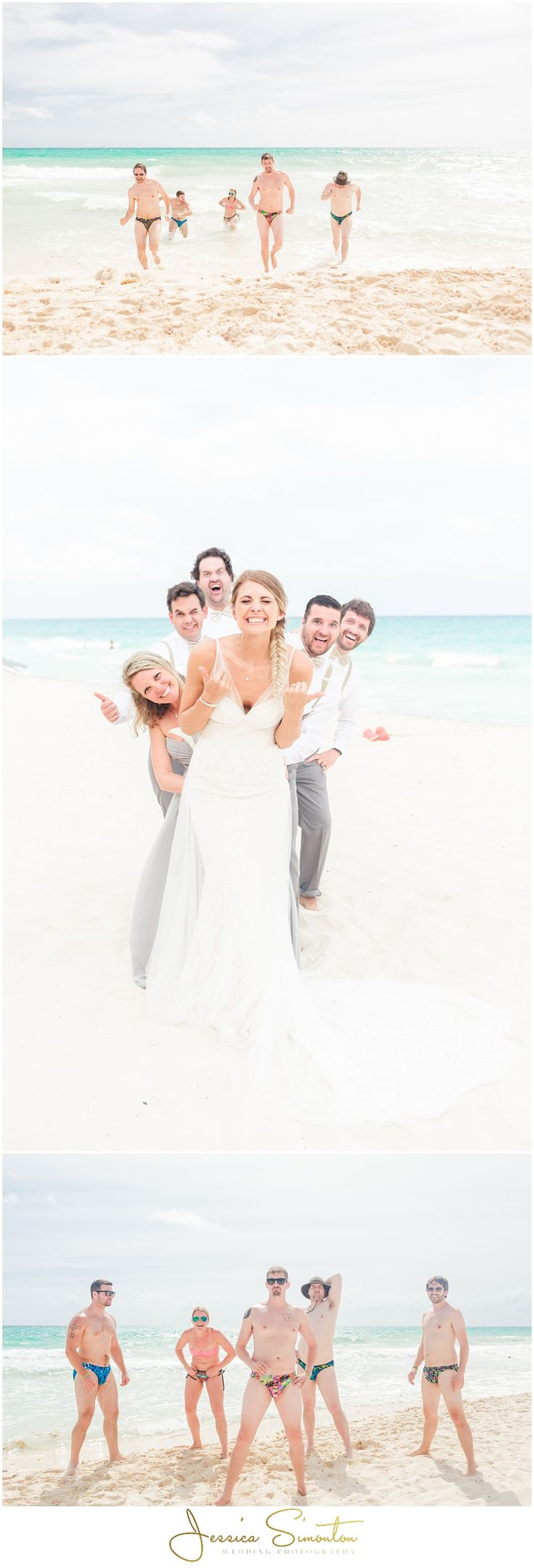 groom and groomsmen in speedos on beach
