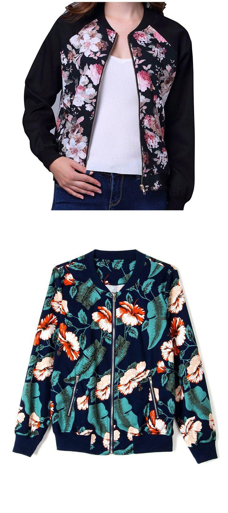 Choies Women Dark Blue Tropical Floral Print Pockted Bomber Jacket Coat Outwear