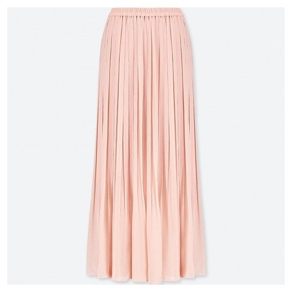 WOMEN High Waist Chiffon Pleated Skirt ($320) ❤ liked on Polyvore featuring skirts, pink slip, pleated chiffon skirt, pink maxi skirt, pleated chiffon maxi skirts and long pleated skirt