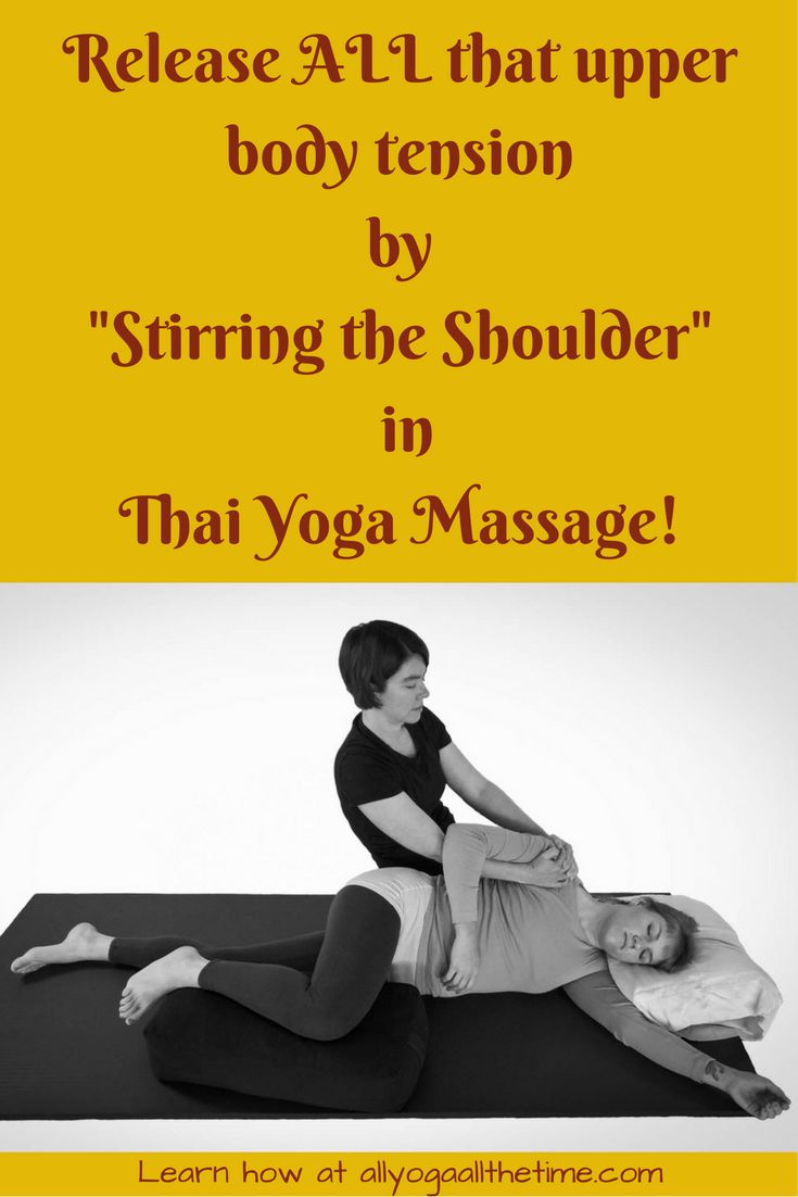 Rotate & Traction the shoulder with this Thai Yoga Massage move to release tension from the chest, side body, neck, arm, shoulder & beyond! via @allyogamarisa