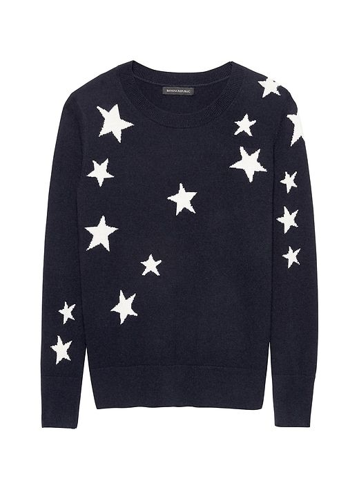 6e813abb4f42ac Banana Republic Womens Italian Merino-Blend Star Intarsia Sweater Navy Blue