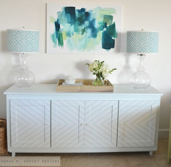 I love the handpainted chevron design on this credenza.  Subtle but makes it interesting and unique.