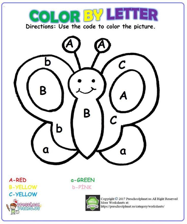 Color By Letter Worksheet For Kids Worksheets For Kids Letter Worksheets Abc Worksheets Color by letter worksheets for preschool