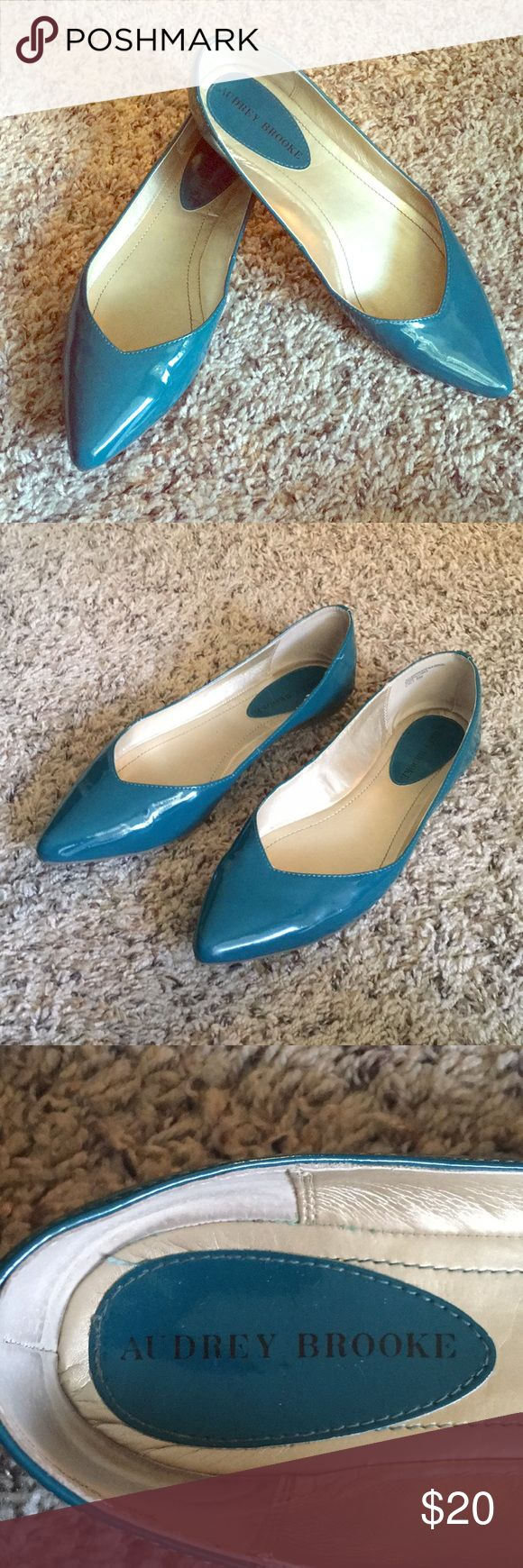 Audrey Brooke Patent Leather Flats Gently worn (only once or twice) Audrey Brooke Patent Leather Teal Flats. Pointed toe. Minor scuffs shown. Audrey Brooke Shoes Flats & Loafers