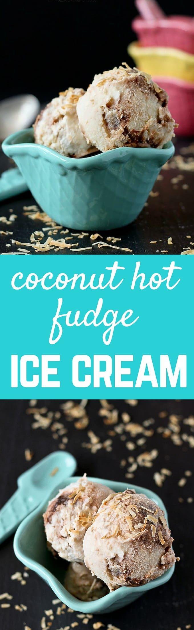 Coconut Hot Fudge Ice Cream - the perfect treat to beat the heat! Get the recipe on RachelCooks.com!