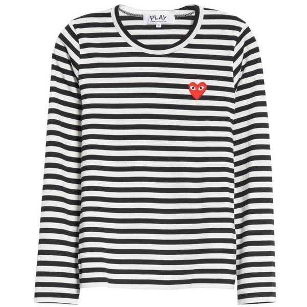 Women's Comme Des Garcons Play Stripe Cotton Tee (1 245 SEK) ❤ liked on Polyvore featuring tops, t-shirts, stripe tee, stripe top, striped top, cotton tees and striped t shirt