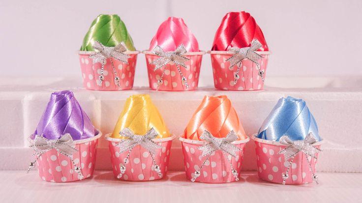 วิธีพับเหรียญโปรยทานคัพเค้ก (Cupcake) - 108 Ribbon