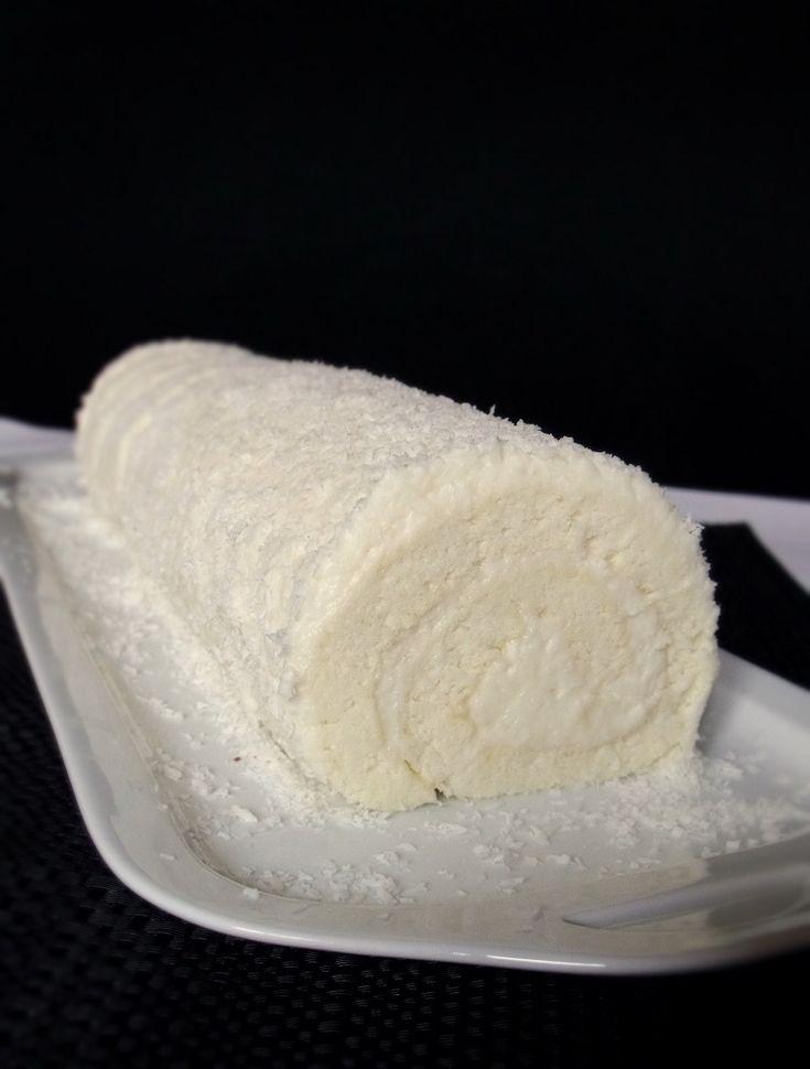 Citromhab: Kókuszkrémes fehér piskótatekercs