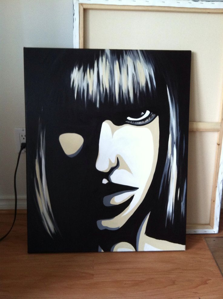 Acrylic Painting On Canvas Black And White Girl  My Art -8084