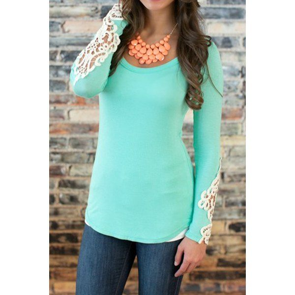 Wholesale Stylish Scoop Neck Long Sleeve Lace Embellished T-Shirt For Women Only $4.99 Drop Shipping | TrendsGal.com