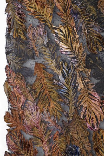 """Lesley Richmond """"She makes textiles that suggest organic surfaces by changing the structure of the fabric, rather than imposing a design on the surface of the cloth. She uses distressing techniques and chemical processes to change the surface structure of the fiber into an illusion of organic decay."""""""