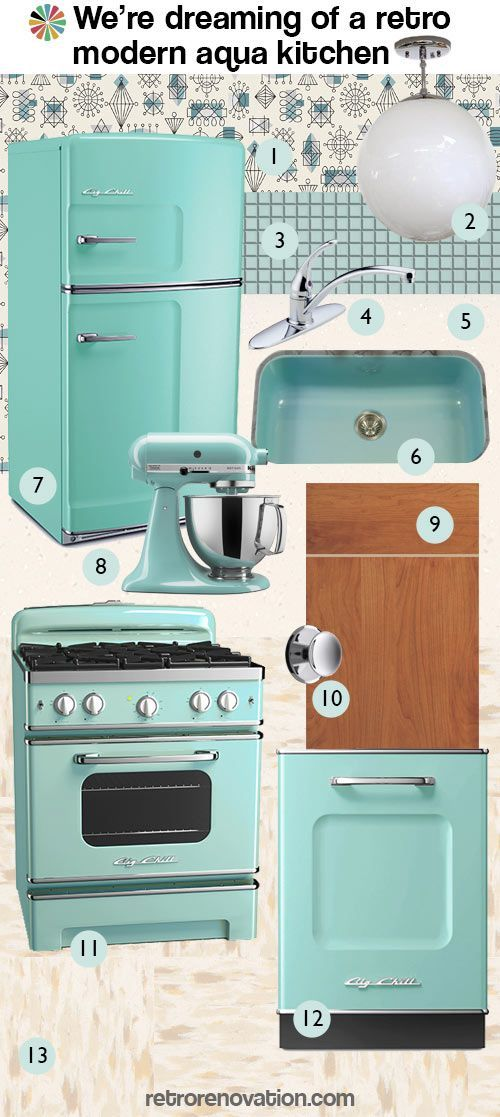 'Retro modern aqua kitchen.' Nothing beats Big Chill appliances to brighten up your kitchen. Great post from retro-renovation! bigchill.com