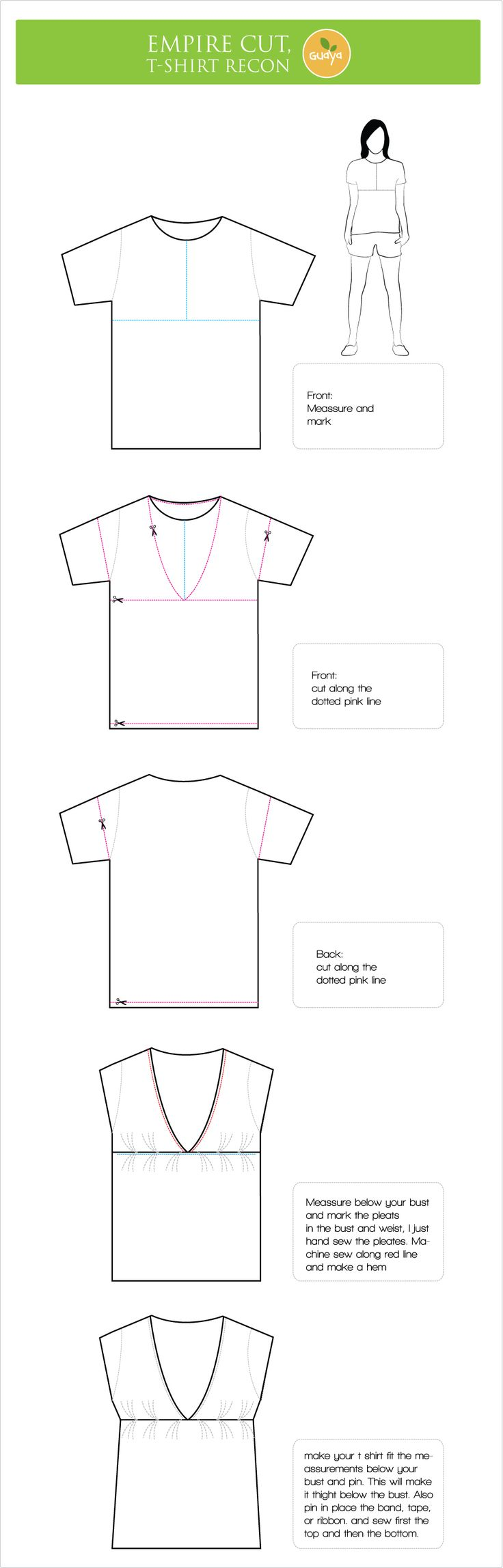 Empire cut Blouse, T-Shirt reconstruction with Tutorial |