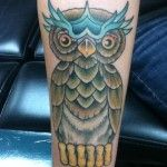 Owl tattoo done by Andy King-tattoo artist at TattooLicious located in Honolulu Hawaii.