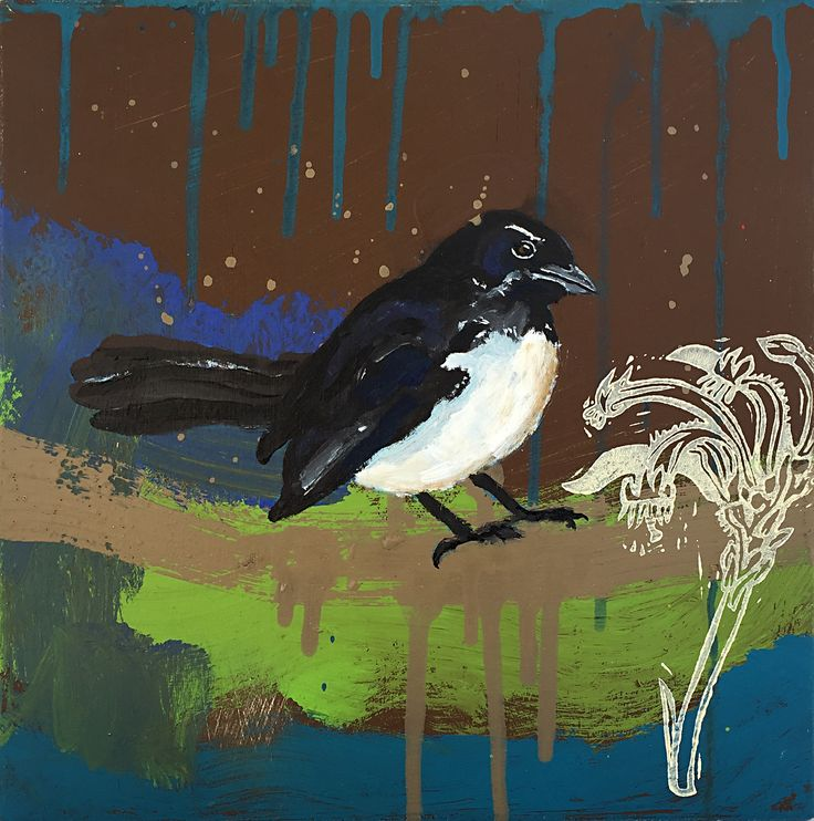 Atelier de Joie Willie Wagtail Block paint-kangaroo paw