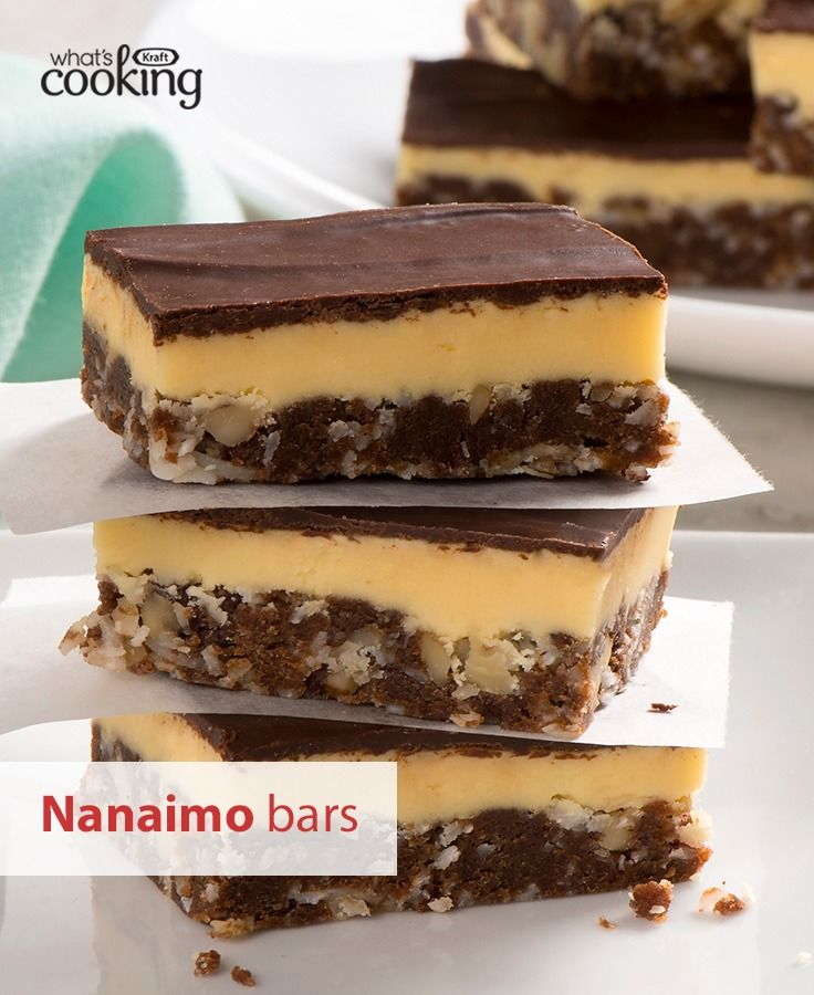 This classic Canadian dessert is a fan-favourite. Yummy chocolate, custard, coconut and crunchy walnuts combine for the ultimate sweet treat. Tap or click photo for this Nanaimo Bars #recipe.