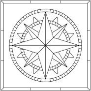 Free Mosaic Patterns To Print | Sixteen Point Compass Rose pattern number 3