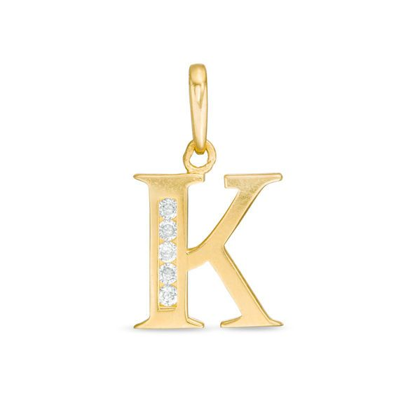 Cubic Zirconia K Initial Necklace Charm In 10k Gold Piercing Pagoda In 2020 Gold Initial Pendant Initial Necklace Gold Letter Necklace
