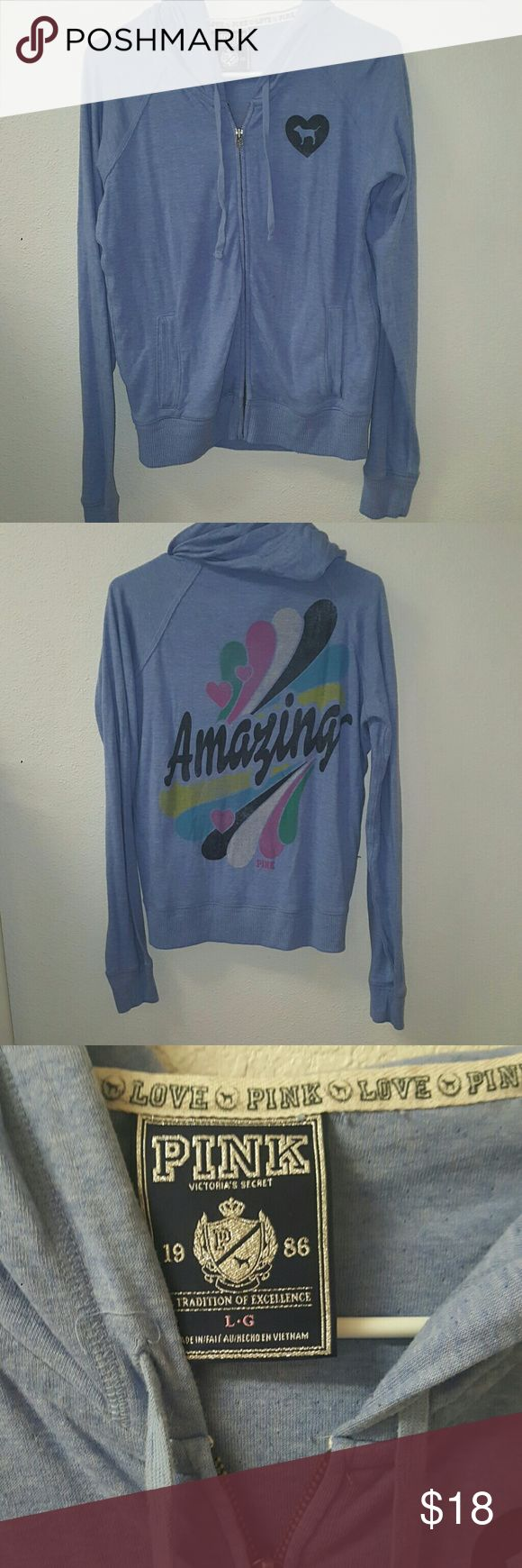 Vintage baby blue zip up Vintage Amazing zip up hooded light weight sweat shirt. PINK Victoria's Secret Tops