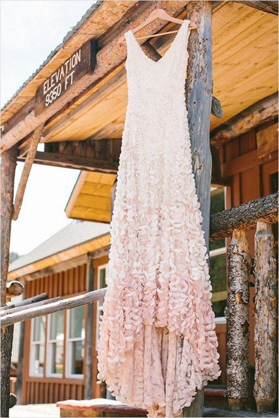 Pink and white Ombre wedding gown by Theia / http://www.himisspuff.com/colorful-non-white-wedding-dresses/3/