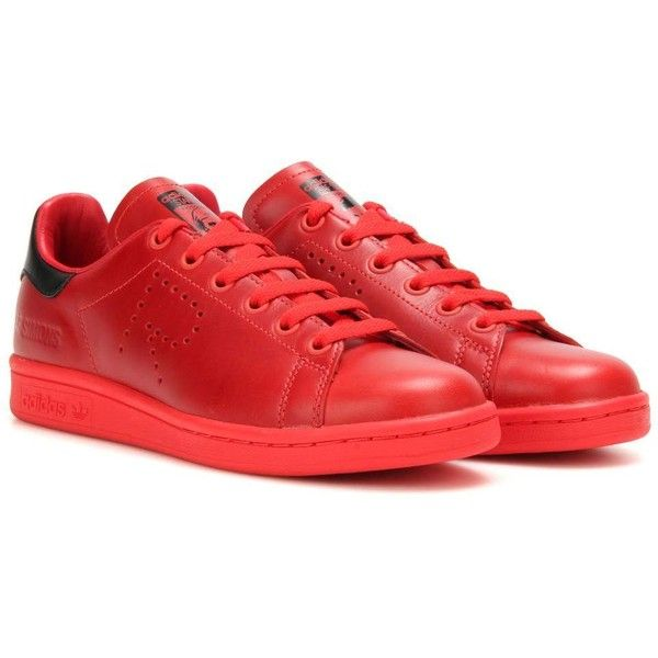 Adidas by Raf Simons Stan Smith Leather Sneakers ($280) ❤ liked on Polyvore featuring shoes, sneakers, red, leather footwear, red sneakers, adidas trainers, red leather sneakers and adidas shoes