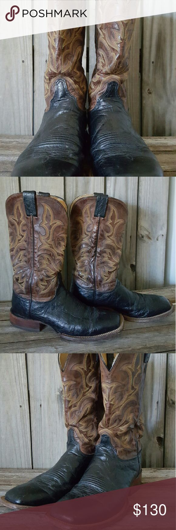 Justin Square Toe Boot Ostrich Men's Pre-owned Justin Square Toe Full Quill Ostrich Boots.  Size 10D Justin Boots Shoes Boots